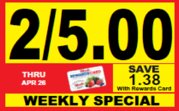 Woods Supermarket Weekly Savings Tag