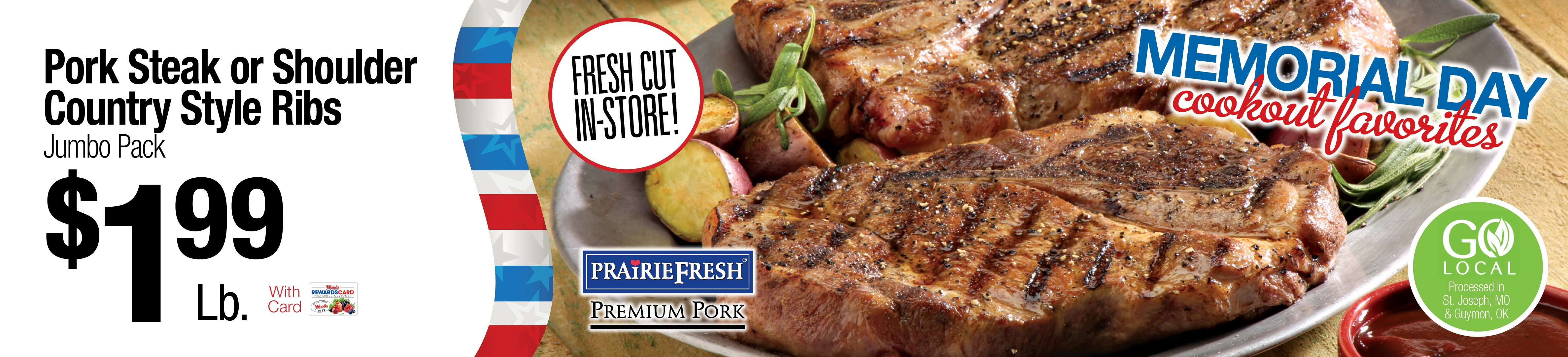 Pork Steak of Shoulder Country Style Ribs Jumbo Pack $1.99/lb