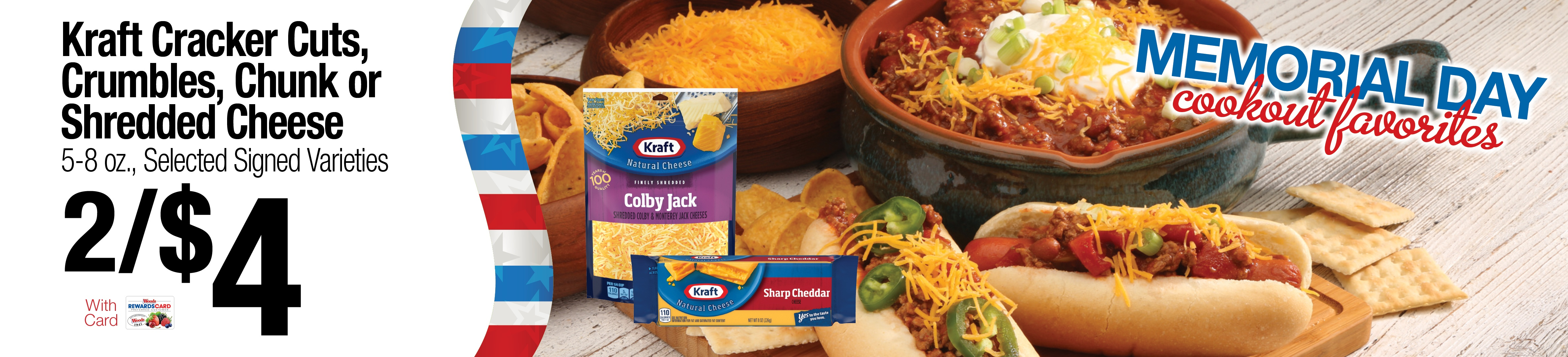 Kraft Cracker cuts, Crumbles, Chunk or Shredded Cheese 2/$4